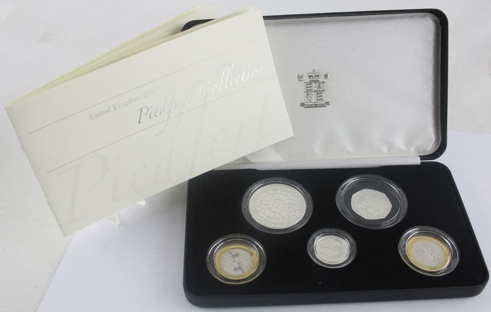 2007 Royal Mint silver proof piedfort set royal marriage 60 years 5 pounds